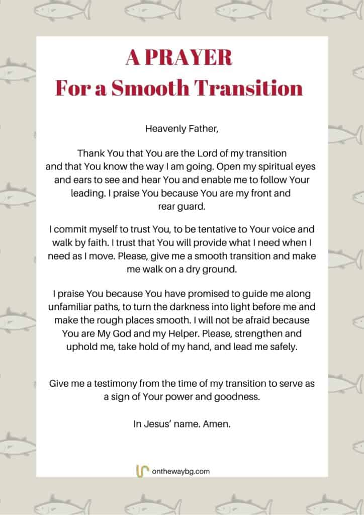 A Prayer for a Smooth Transition