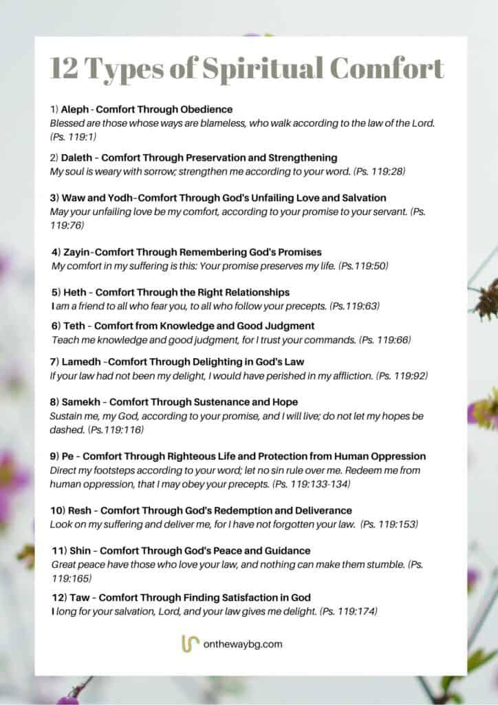 12 Types of Spiritual Comfort